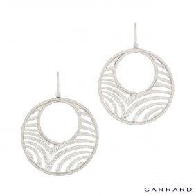 Garrard White Gold Diamond Hoop Earrings 12.30ct